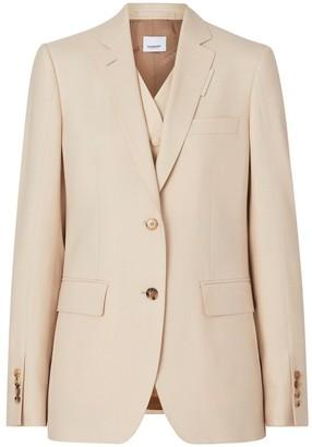 Burberry Waistcoat Detail Mohair Silk Blend Blazer