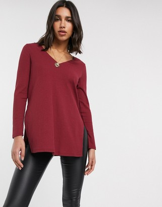 ASOS DESIGN longline top with side splits in rib in dark burgundy
