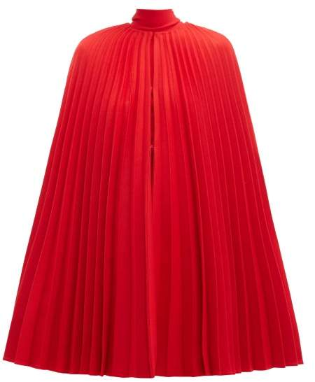 Valentino Pleated Virgin Wool Cape - Womens - Red