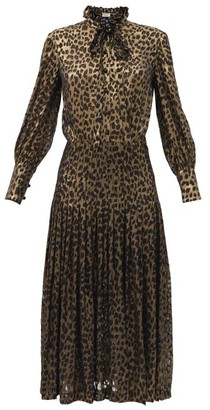 Saint Laurent Pussy-bow Leopard-devore Silk-blend Shirt Dress - Black Gold