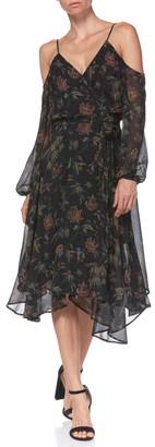 Paige Serifina Floral Cold Shoulder Silk Midi Wrap Dress