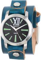 Nemesis Women's GVGB065KG Exclusive Collection Roman Green Leather Cuff Watch
