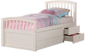 Donco Kids Brimly 6-Drawer Storage Bed, White, Twin