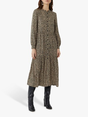 Warehouse Square Tiered Midi Dress, Brown Print