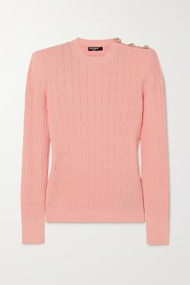 Balmain Button-embellished Ribbed-knit Sweater - Pink