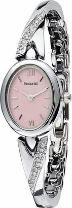 Accurist Womens Japanese Quartz Oval Watch With Stone Set Bracelet Splash Resistant Jewellery Type Clasp 2 year guarantee.