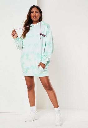 Missguided Playboy X Petite Mint Tie Dye Bunny Back Hoodie Dress