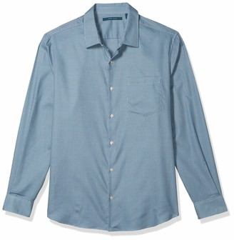 Perry Ellis Men's Solid Dobby Grid Long Sleeve Button-Down Shirt