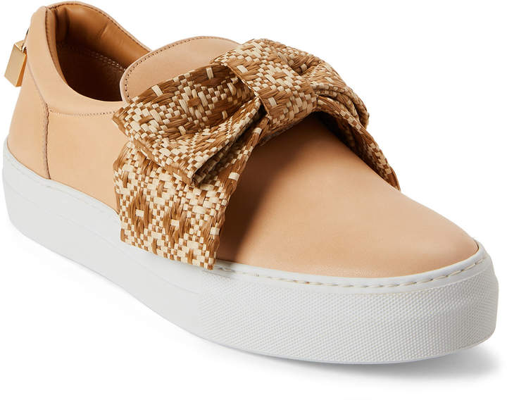 Buscemi Natural Raffia Bow Leather Slip-On Sneakers