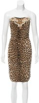 Blumarine Cheetah Patterned Strapless Dress w/ Tags