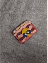 Burberry Beasts Motif Haymarket Check and Leather Card Case