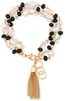 GUESS Gold-Tone Beaded Tassel Link Bracelet
