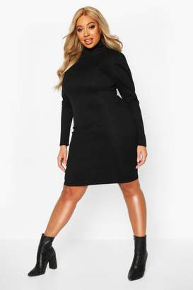 boohoo Plus Soft Rib High Neck Puff Sleeve Mini Dress