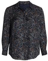Thumbnail for your product : Lafayette 148 New York, Plus Size Scottie Button-Up Silk Blouse