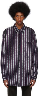 Marcelo Burlon County of Milan Purple and Black Leopard Stripes Shirt