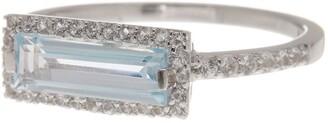 Delmar Sterling Silver Blue Topaz & Sky White Sapphire Ring