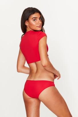 Toria Tonia Low Rise Bikini Bottoms Red