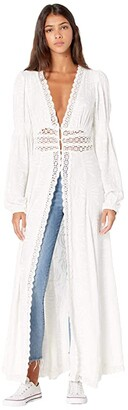 Free People Shady Palm Maxi Top (White) Women's Clothing