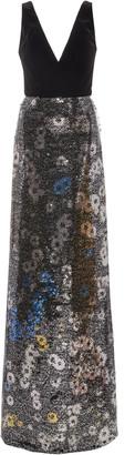 Monique Lhuillier Velvet-Paneled Sequined Chiffon Maxi Dress