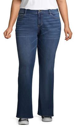 Arizona Juniors Plus Womens Mid Rise Regular Fit Bootcut Jean