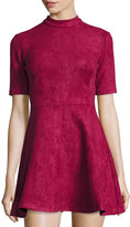 Alexia Admor Mock-Neck Faux-Suede Fit & Flare Dress, Burgundy