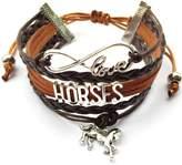 Generic Braid Leather Wrap Horse Bracelet