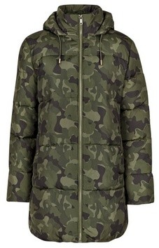 Dorothy Perkins Womens Green Camouflage Print Long Padded Hooded Coat, Green