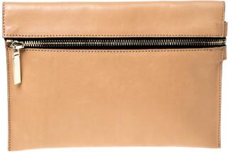 Victoria Beckham Peach Orange Leather Zip Clutch
