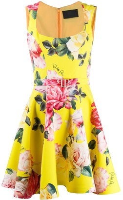Philipp Plein Floral-Print Fit-And-Flare Dress