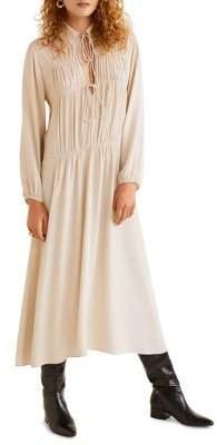 MANGO Tie-Front Gathered Midi Dress