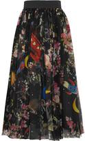 Dolce & Gabbana Printed Silk-chiffon Midi Skirt - Black