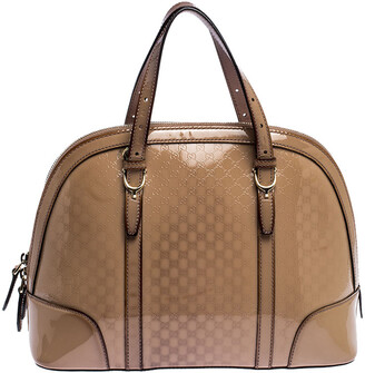 Gucci Beige Micro Guccissima Patent Leather Nice Satchel
