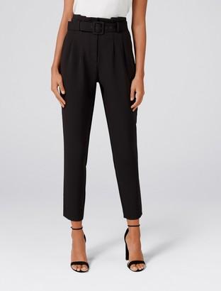 Forever New Tori High-Waist Paper Bag Slim Pants - Black - 8