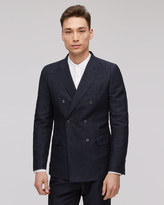 Linen Jacquard Double Breasted Tailored Jacket