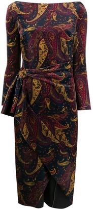 Winter Moss paisley-print velvet dress