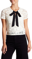 Soprano Front Bow Short Sleeve Lace Blouse