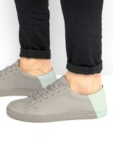 Asos Trainers In Grey With Contrast Heel
