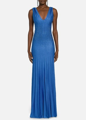 St. John Lined Beaded Metallic Plisse Knit Gown