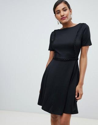 Asos Y.A.S Stapey lace up trim dress-Black