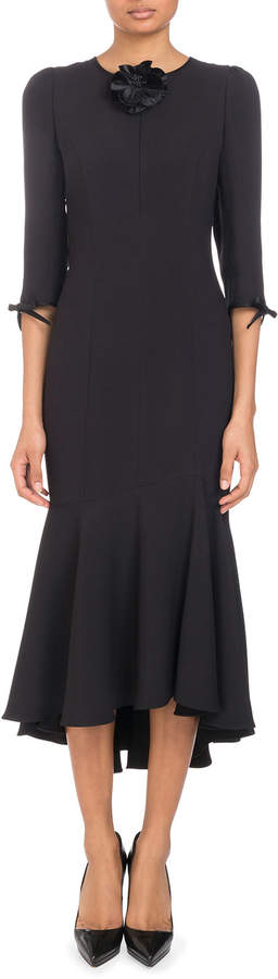 Andrew Gn 3/4-Sleeve Trumpet Crepe Cocktail Dress with Zip-Front & Flower Detail