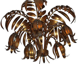 One Kings Lane Vintage French Deco Gilt Tole Palm Chandelier - Something Vintage