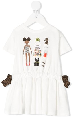 Fendi Paper Doll-Print Drawstring Dress