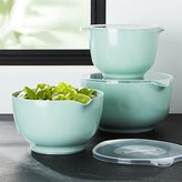 Crate & Barrel Rosti Retro Green Melamine Mixing Bowls with Lids Set