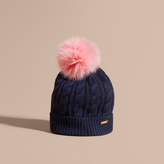 Burberry Wool Cashmere Cable Knit Beanie with Two-tone Fur Pom-Pom