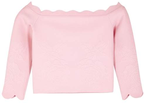 Alexander McQueen Rose-jacquard Off-the-shoulder Top