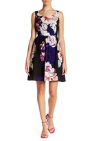 Adrianna Papell 12253262 Floral Pleat A-Line Dress