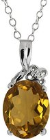 Gem Stone King 2.31 Ct Oval Whiskey Quartz and White Topaz 18k White Gold Pendant