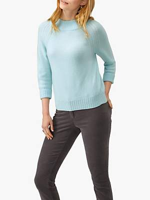 Pure Collection Cashmere Turtle Neck Jumper, Fresh Opal