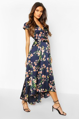 boohoo Cap Sleeve Tie Waist Floral Midaxi Dress