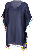 Designs By Two Greek Sisters Designs by Two Greek Sisters Women's Swimsuit Coverups - Navy Pom-Accent Cover Up